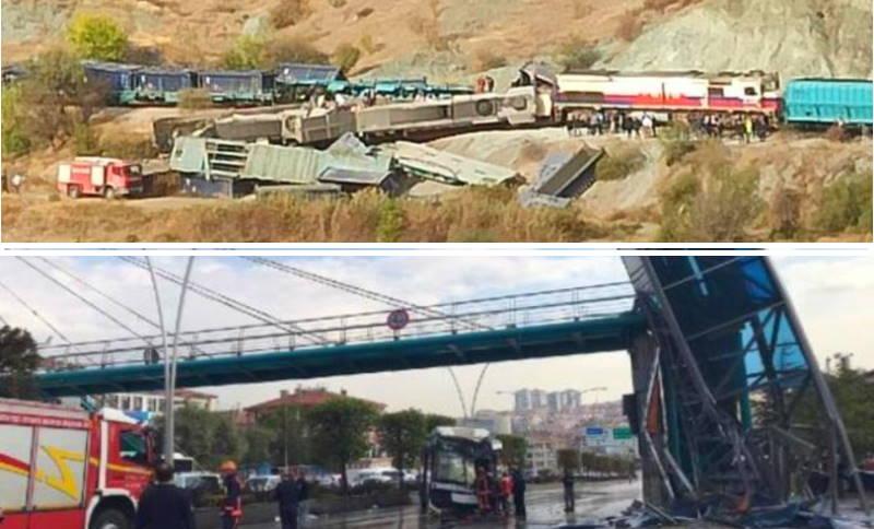 Аварии в Анкаре: столкновение поездов, ДТП с автобусом