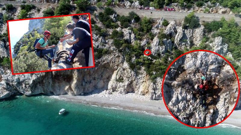 Украинский турист провел 6 часов на скале в Анталье