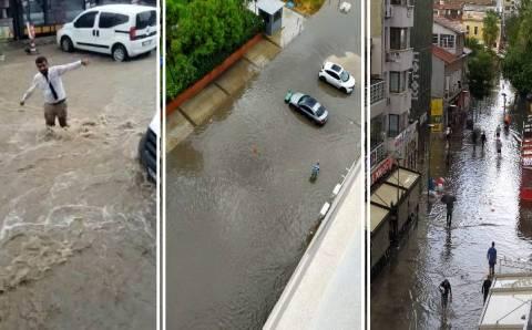 Ливень превратил улицы Измира в озера и реки