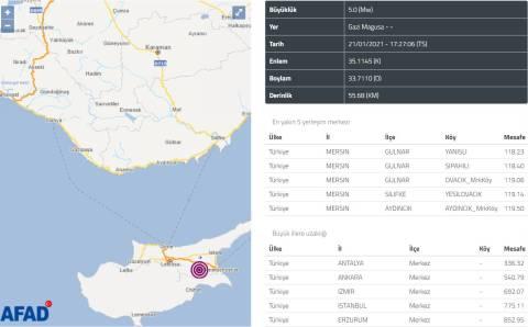 5 баллов потрясли в четверг Северный Кипр
