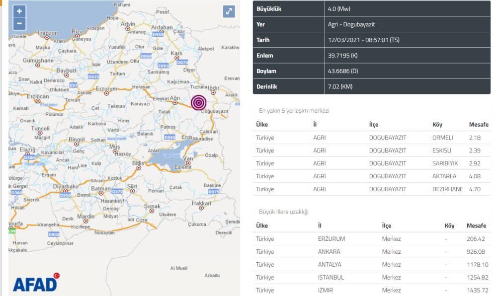 Землетрясение 4 балла потрясло восток Турции