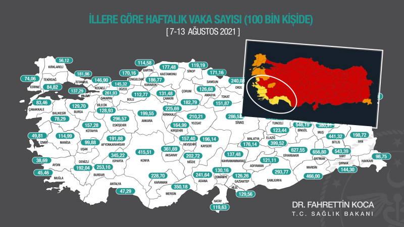 Карта COVID: Курортные провинции самые безопасные в Турции