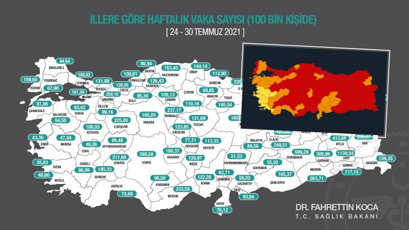 Карта COVID: Турция за неделю резко «покраснела»