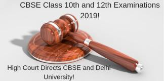 CBSE Class 10th and 12th Examinations 2019