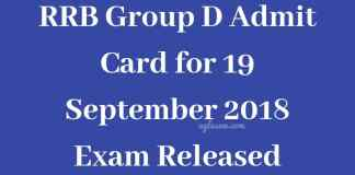 RRB Group D Admit Card for 19 September Exam