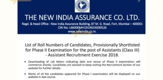 NIACL Assistant Prelims Result 2018