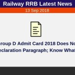 Railway RRB Group D Admit Card Self Declaration
