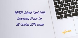 NPTEL Admit Card 2018 Download