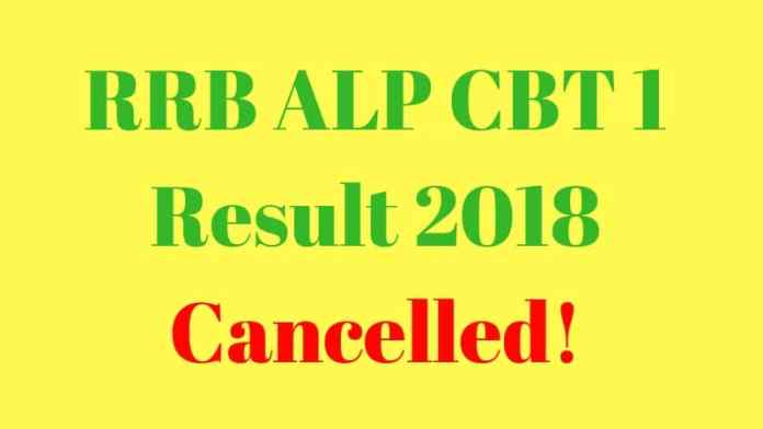 RRB ALP CBT 1 Result 2018 Cancelled