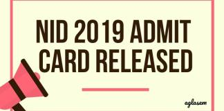 NID 2019 Admit Card Released Aglasem