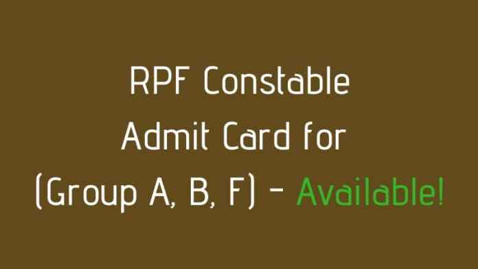 RPF Constable Admit Card