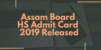Assam Board HS Admit Card 2019 Released