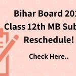Bihar Board 2019 Class 12th MB Subject Reschedule