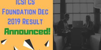 ICSI CS Foundation Dec 2019 Result Announced