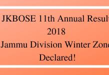 JKBOSE 11th Annual Result 2018 Jammu Division Winter Zone Declared!