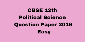 CBSE 12th Political Science Question Paper 2019 Easy