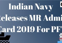 Indian Navy MR Admit Card 2019 Aglasem