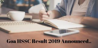 Goa HSSC Result 2019 Announced