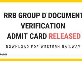 RB Group D Document Verification Admit Card Released Aglasem