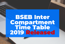 BSEB 12th Compartment Time Table 2019