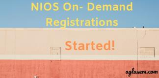 NIOS On Demand Registrations Started