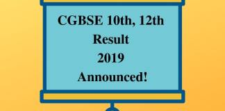 CGBSE 10th, 12th Result 2019 Announced
