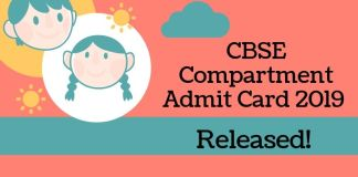 CBSE Compartment Admit Card 2019