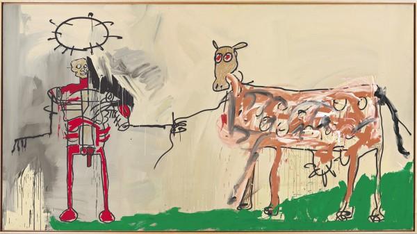 讓·米歇爾·巴斯奎特(Jean-Michel Basquiat),《隔壁的田野》(1981年),丙烯酸,搪瓷噴漆,油條,金屬漆和畫布上的油墨。 照片由克里斯蒂拍賣行提供。