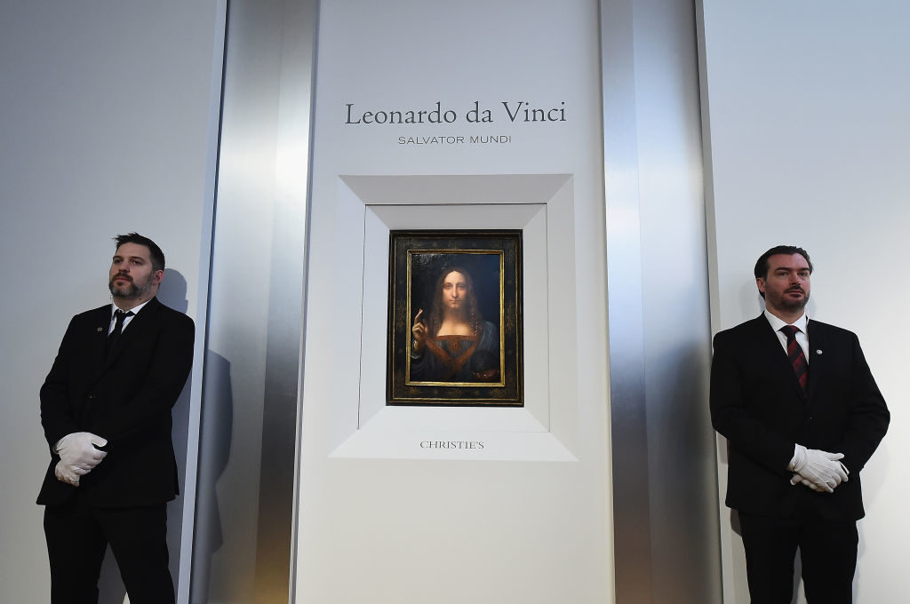 Christie's unveils Leonardo da Vinci's Salvator Mundi [pictured] with Andy Warhol's on October 10, 2017 in New York City. Photo by Ilya S. Savenok/Getty Images for Christie's Auction House.