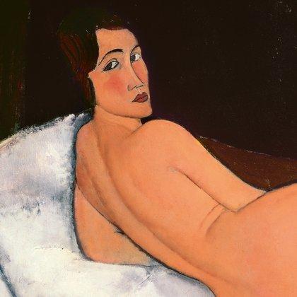 Detalhe de Nu couché (sur le côté gauche), 1917, Amedeo Modigliani. Cortesia Sotheby's e Tate Modern