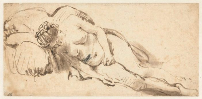 Rembrandt van Rijn, Nude Woman Resting on a Cushion (ca. 1658). Purchased with the support of the Vereniging Rembrandt.