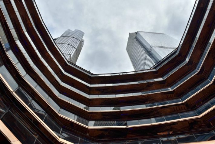 View of the Hudson Yards towers from inside 'Vessel.' Image courtesy Ben Davis.