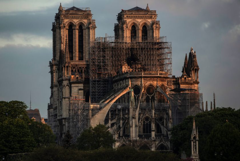 Notre-Dame Cathedral at sunrise following a major fire on Monday. Photo by Dan Kitwood/Getty Images.