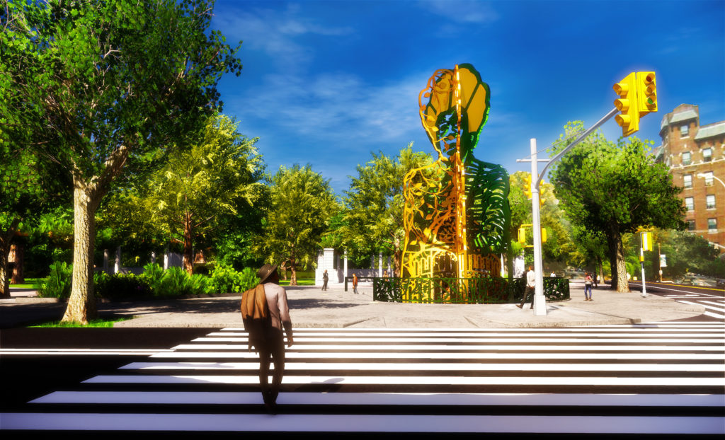 Amanda Williams & Olalekan Jeyifous, <em>Our Destiny, Our Democracy</em>, the winning design for the Shirley Chisholm monument in Prospect Park. Rendering courtesy of She Built NYC