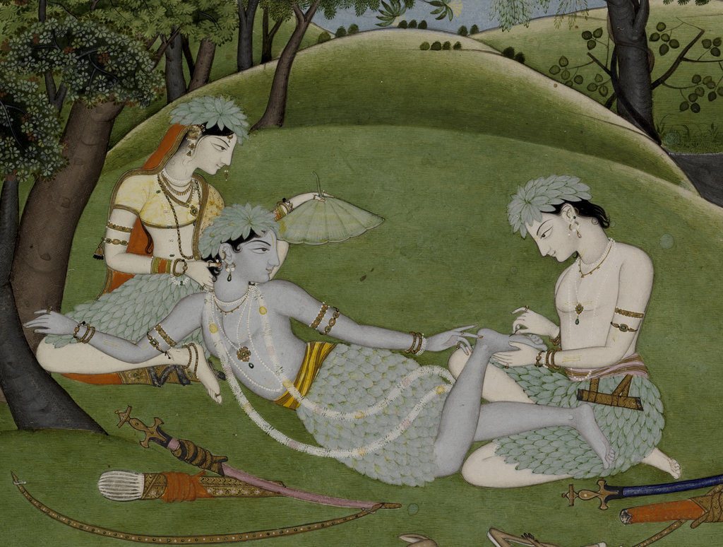 Unknown Indian artist, Punjab Hills, Kingdom of Kangra, <em>Rama, Sita and Lakshmana Begin their Life in the Forest</em> (circa 1800–10), detail. Promised Gift of Steven Kossak, the Kronos Collections. Photo courtesy of the Metropolitan Museum of Art.