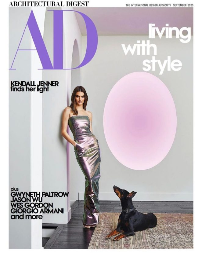 Kendall Jenner and her prized James Turrell sculpture appears on the cover of the August 2020 issue of Architectural Digest. Photo by William Abranowicz, courtesy of Architectural Digest.