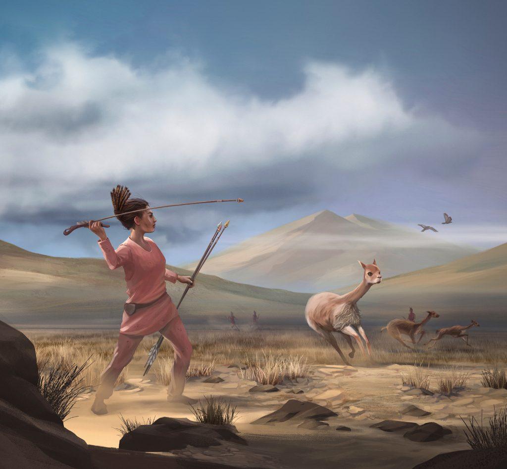 A reconstruction of a Wilamaya Patjxa vicuña hunt by artist Matthew Verdolivo, UC Davis IET Academic Technology Services. Courtesy Randall Haas.