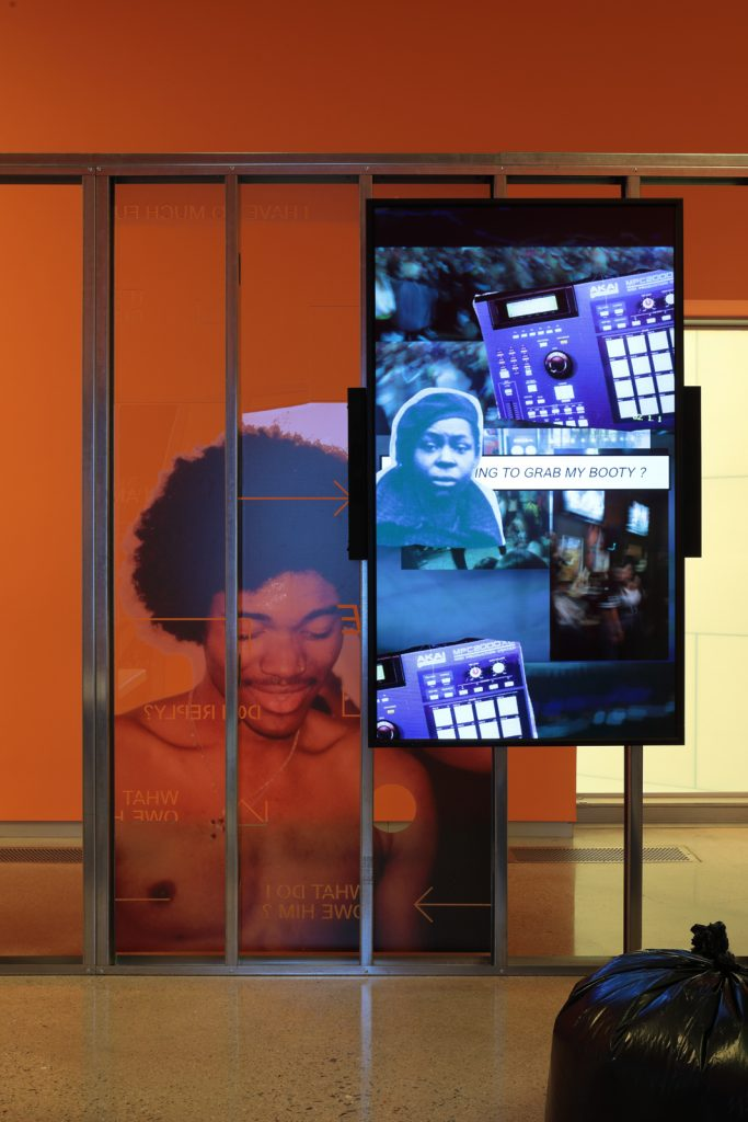"""Installation view of Martine Syms's """"Shame Space,"""" ICA Virginia. Courtesy Sadie Coles HQ."""