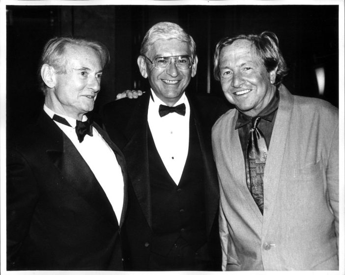Eli Broad with Robert Rauschenberg and Roy Lichtenstein. Photo courtesy of the Eli and Edythe Broad Foundation.
