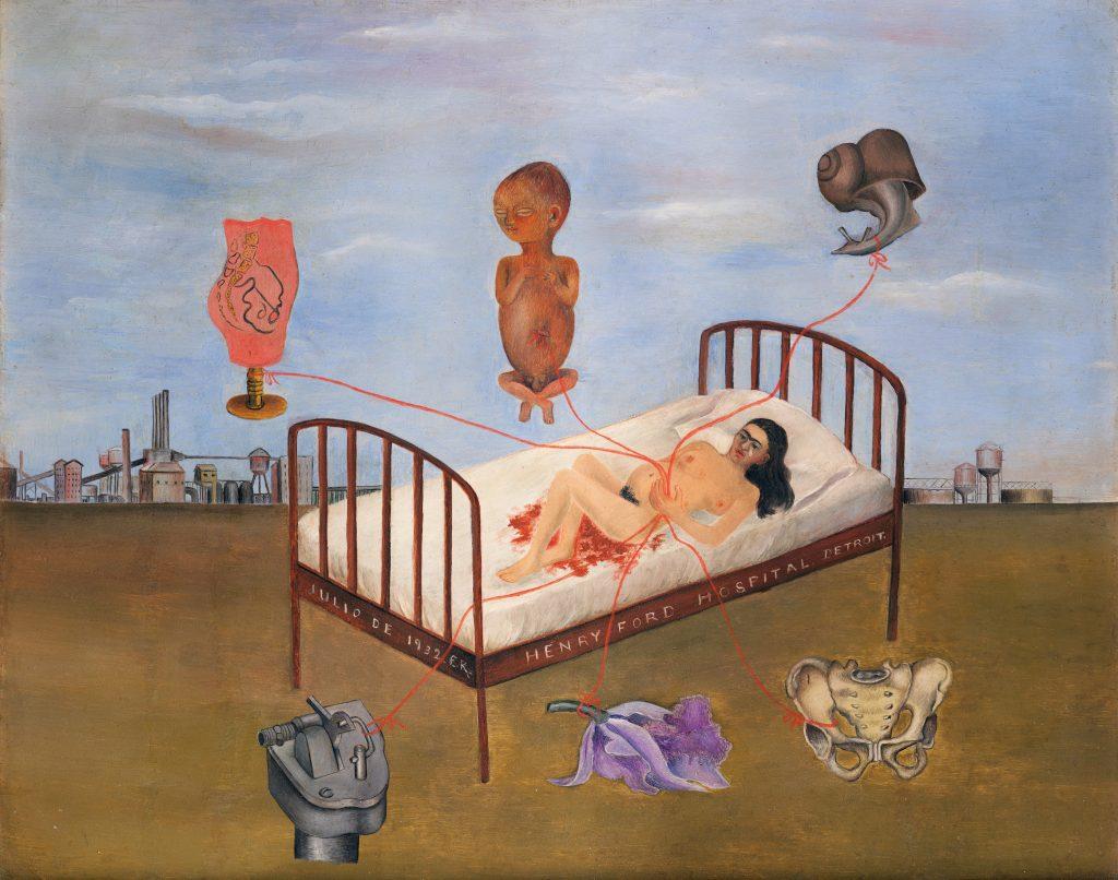 Frida Kahlo, <em>Hospital Henry Ford</em> (1932). Photo by akg-images, Museo Dolores Olmedo, Mexico City, Xochimilco, ©Banco de Mexico Diego Rivera Frida Kahlo Museums Trust/VG Bild-Kunst, Bonn 2021; reproduction authorized by the Instituto Nacional de Bellas Artes y Literatura, 2021.