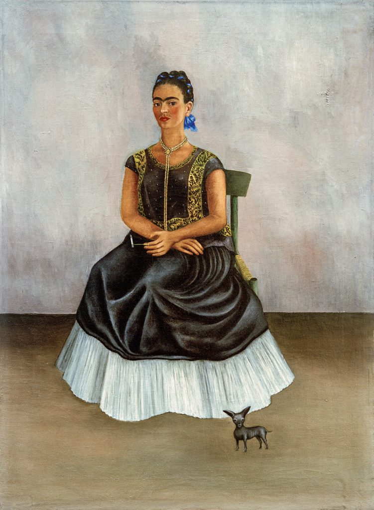 Frida Kahlo, <em>Ixcuhintli Dog with Me,</eM> (c. 1938). Photo by akg-images, ©Banco de Mexico Diego Rivera Frida Kahlo Museums Trust/VG Bild-Kunst, Bonn 2021; reproduction authorized by the Instituto Nacional de Bellas Artes y Literatura, 2021.