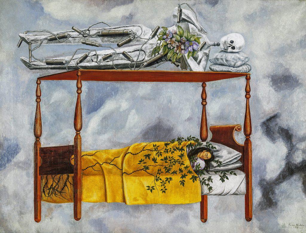 Frida Kahlo, <em>The Dream (The Bed)</eM> (1940). Photo by Jorge Contreras Chacel. ©Banco de Mexico Diego Rivera Frida Kahlo Museums Trust/VG Bild-Kunst, Bonn 2021; reproduction authorized by the Instituto Nacional de Bellas Artes y Literatura, 2021.