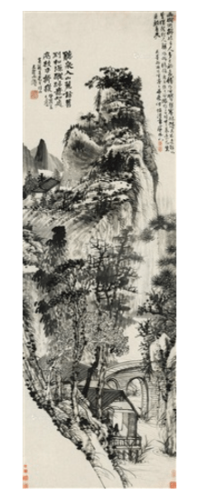Shitao,Tingquan at the foot of the mountain, vertical scroll ink on paper(1693). Courtesy of Rombon Auction House.