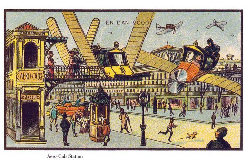"Jean-Marc Côté, ""France En L'An 2000 (France in the Year 2000),"" 1899. Commissioned by Armand Gervais et Cie, public domain."