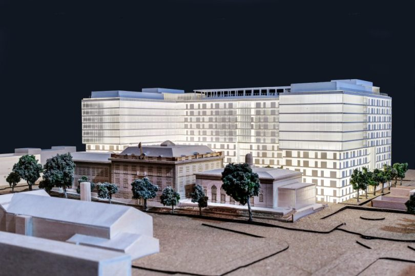 The Randall School in Washington, D.C., will become home to the second location of Miami's Rubell Museum and a new Gallery 64 apartment building. Rendering courtesy of Blinder Belle Architects and Planners.