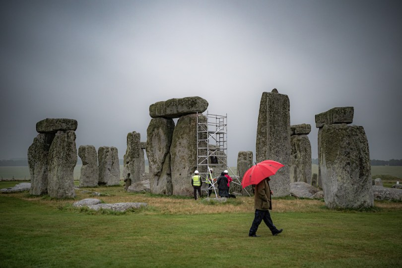 A scaffold is erected inside the stone circle as specialist contractors from SSH Conservation repair defects from previous repairs, carried out the 1950's, on a trilithon in the stone circle and carry out vital conservation work at Stonehenge, Wiltshire. Picture date: Tuesday September 14, 2021. (Photo by Ben Birchall/PA Images via Getty Images)