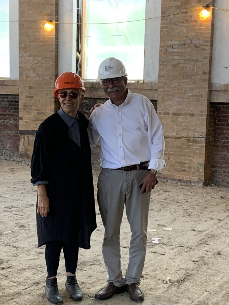 Mera Rubell at the construction site for the second location of Miami's Rubell Museum, formerly the Randall School in Washington, D.C. Photo courtesy of Blinder Belle Architects and Planners.