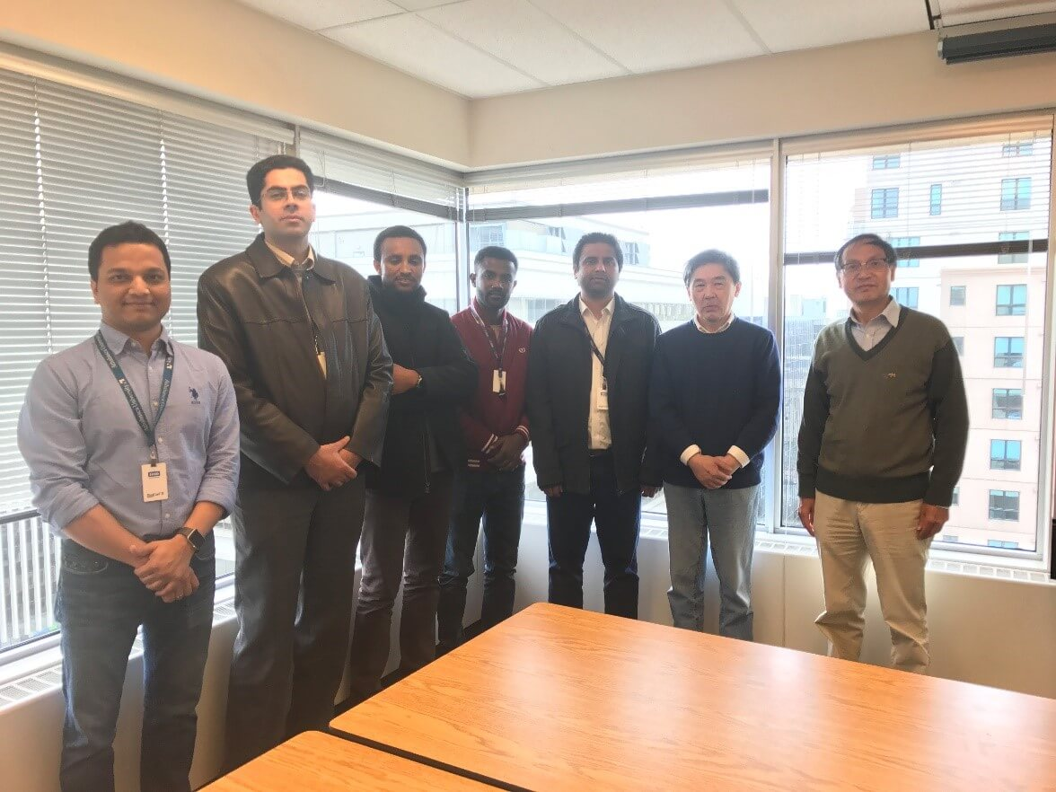 Dr. Junye Wang (right), with his team of post-doctoral researchers, (left to right) Dr. Soumendra Nath Bhanja, Dr. Mojtaba Aghajani Delavar, Dr. Nigus Demelash Melaku, Dr. Tesfa Worku Meshesha, Dr. Syed Hamid Hussain Shah, and Dr. Jiacheng Shen.