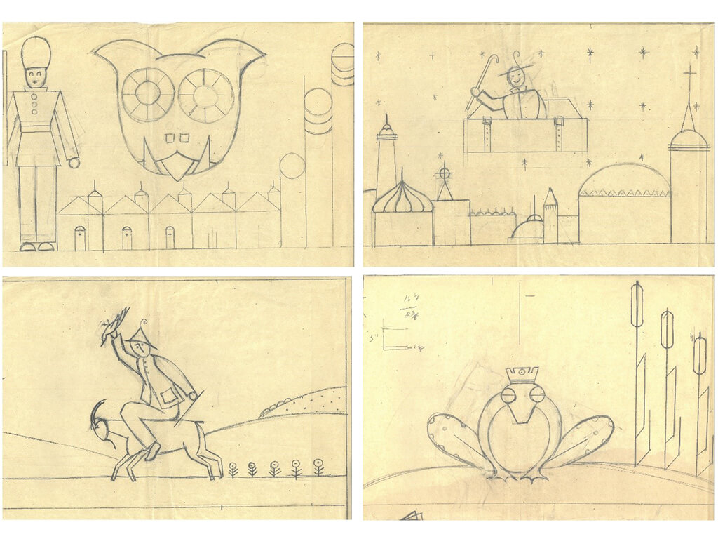 Four of Helen's design sketches for the Hans Christian Andersen tapestry, (1939-1940).