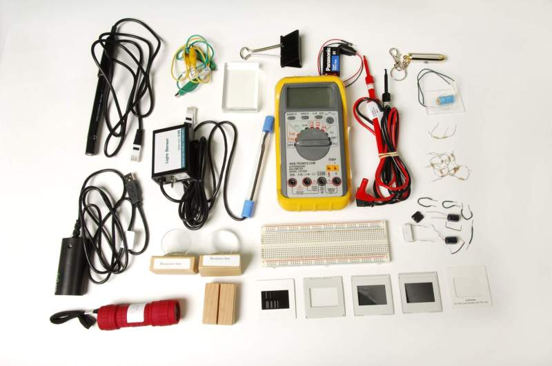 Athabasca University's take-home lab kits, like this one for Physics 202, include all the required equipment and materials.
